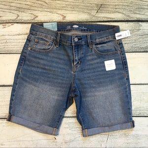 NWT Old Navy mid rise Bermuda denim jean shorts 4